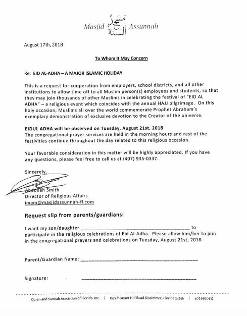 Eid excuse letter